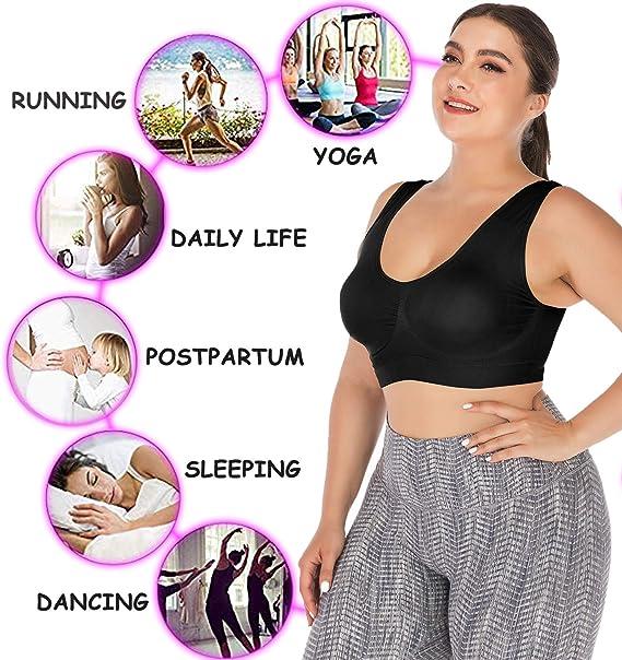 OMG/_Shop Womens Sports Bras Full-Coverage Seamless Bra Yoga Gym Workout Fitness Bralette Plus Size