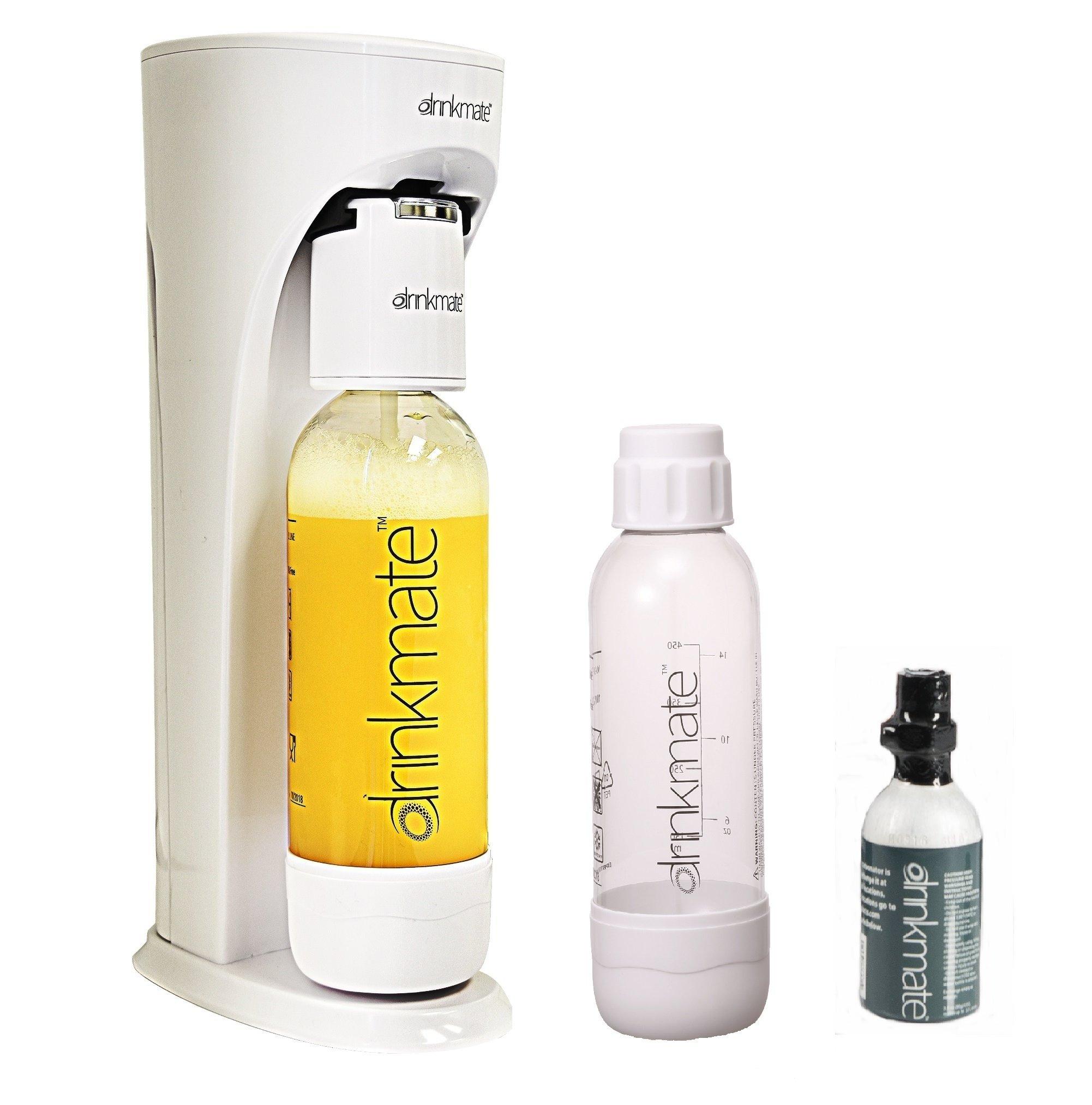 Drinkmate Beverage Carbonation Maker with 3 oz Cylinder Includes Two BPA-free Carbonation bottles, 1Litre and half litre bottles (White) by Drinkmate (Image #1)