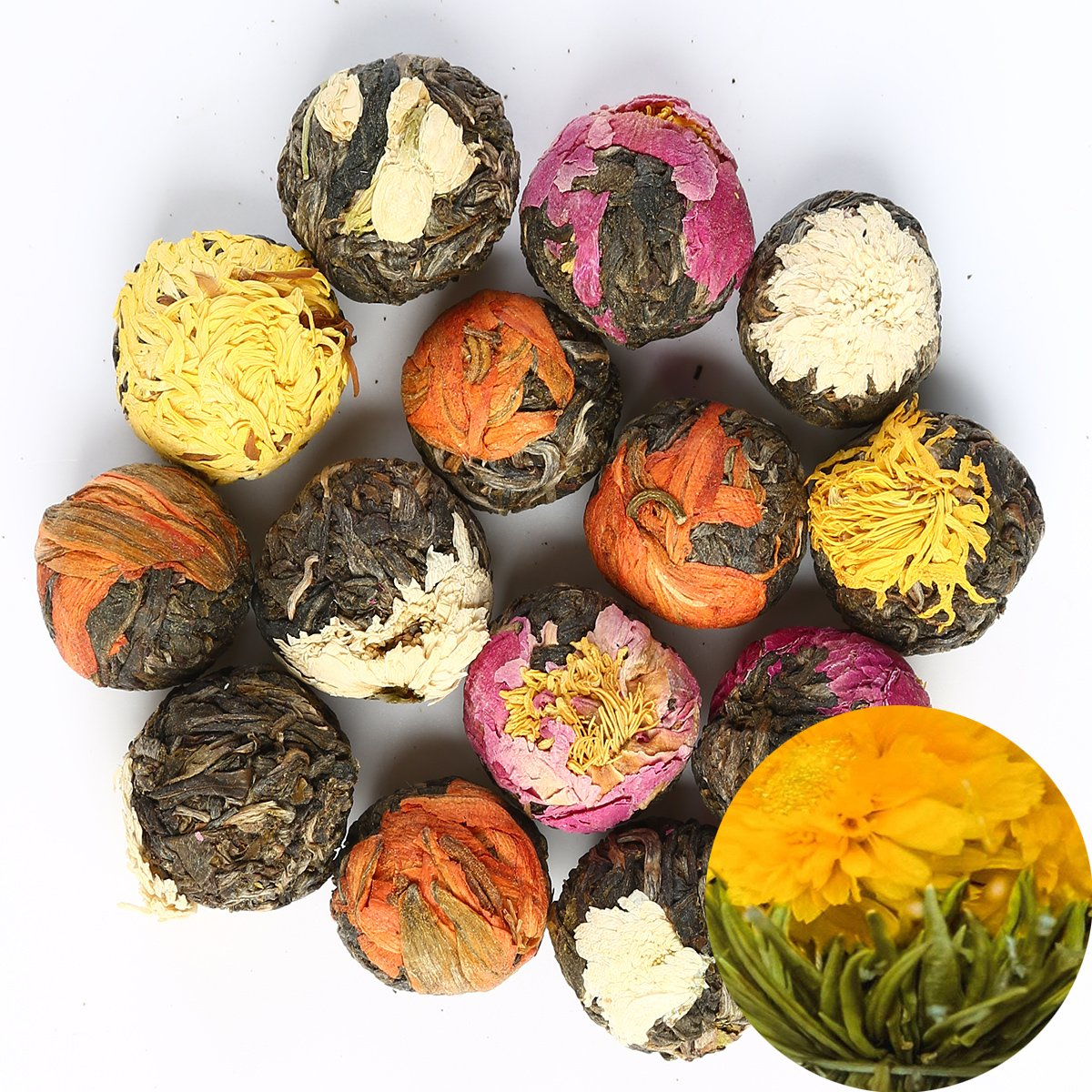 TooGet Natural Flowering Tea - 6 Unique Varieties of Blooming Tea Balls, Organic Green Tea - 18 Balls by TooGet
