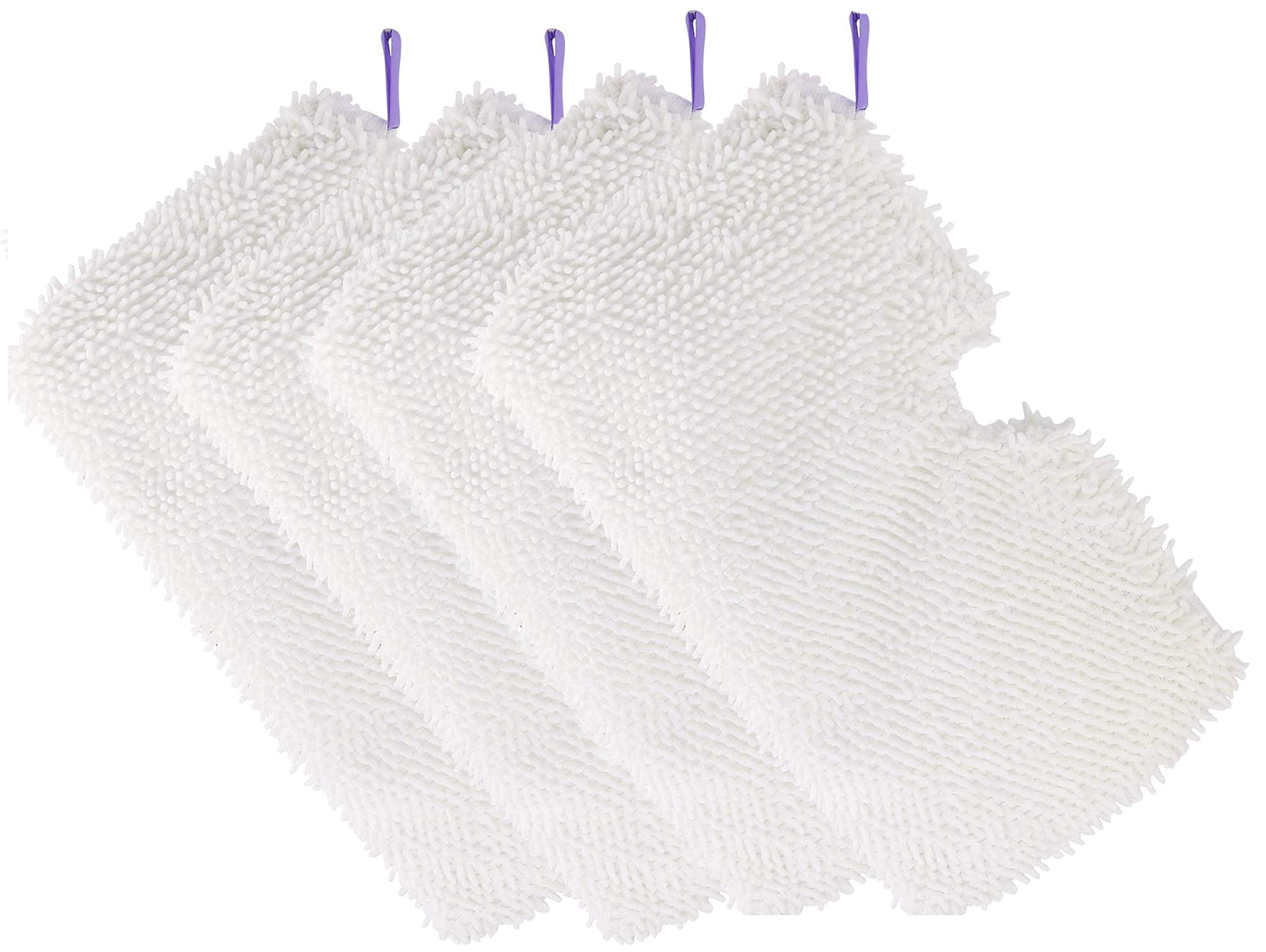 4 Pack Microfiber Steam Mop Replacement Pads, Machine Washable Cleaning Pads for Shark Steam Pocket Mops S3500 Series S3501 S3601 S3550 S3901 S3801 SE450 S3801CO S3601D-White by Tidy Monster