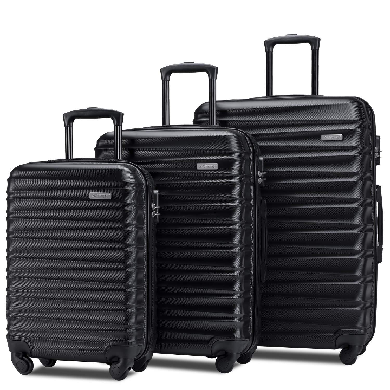 "Merax Afuture Luggage Set Hardside Lightweight Spinner Suitcase 20"" 24"" 28"" (Black2019)"