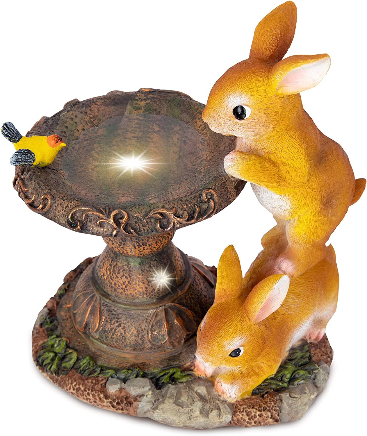 RealPetaled Rabbit Garden Statues and Figurines, Garden Art Outdoor for All Seasons-Garden Decor, Solar Statue with 2 Calla Lily Lights, Garden Figurines Outdoor Gift for Patio, Lawn, Yard