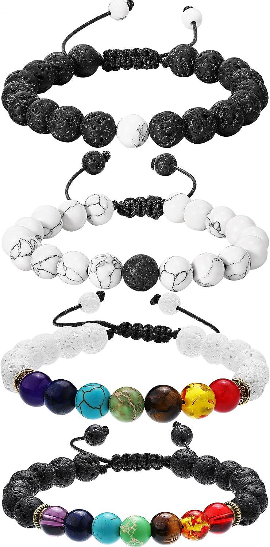 Bememo - 4 Pulseras de Piedras de Lava de 7 Colores, Cuentas de Chakra, Pulseras de aromaterapia para aceites Esenciales