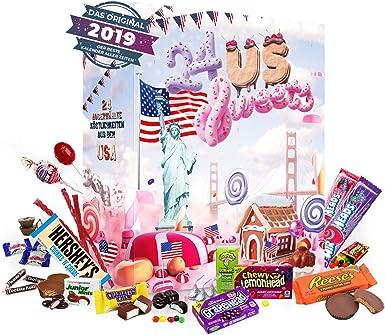 Calendario de Adviento de Dulces de EE. UU. I Calendario de Navidad Dulces Americanos con 24 Dulces de América I Juego de Regalo para Adultos Niños I Adviento de Navidad