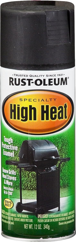 Rust-Oleum 7778830-2PK High Heat Enamel Spray Paint, 2 Pack, Bar-B-Que Black, 24 Ounce