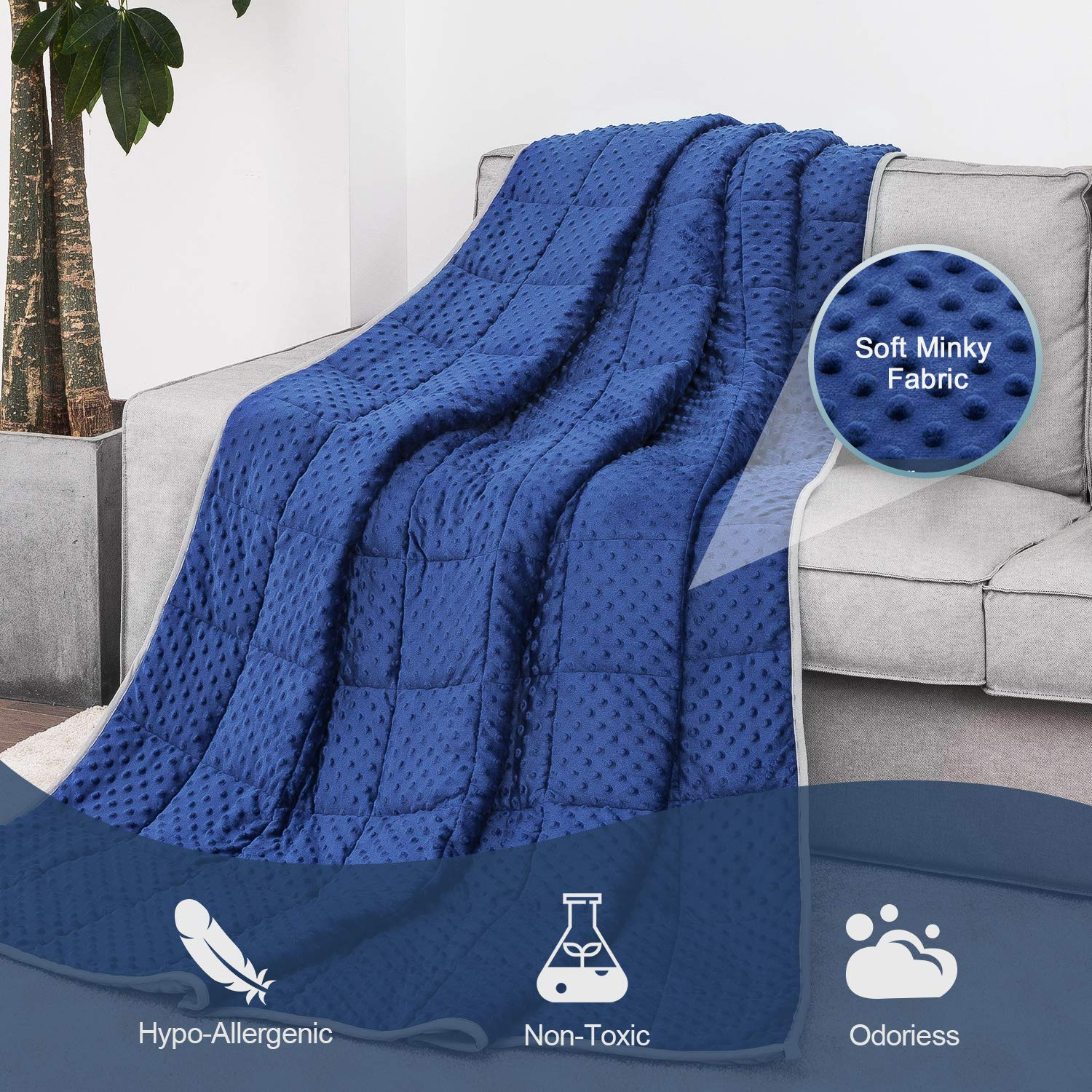 Angelhood Weighted Blanket 12 lbs, 48x72, Twin Full Size ,Minky Weighted Blanket for Kids Adult Warm Luxury,Heavy Weighted Blanket with Premium Glass Beads,Blue-Gray