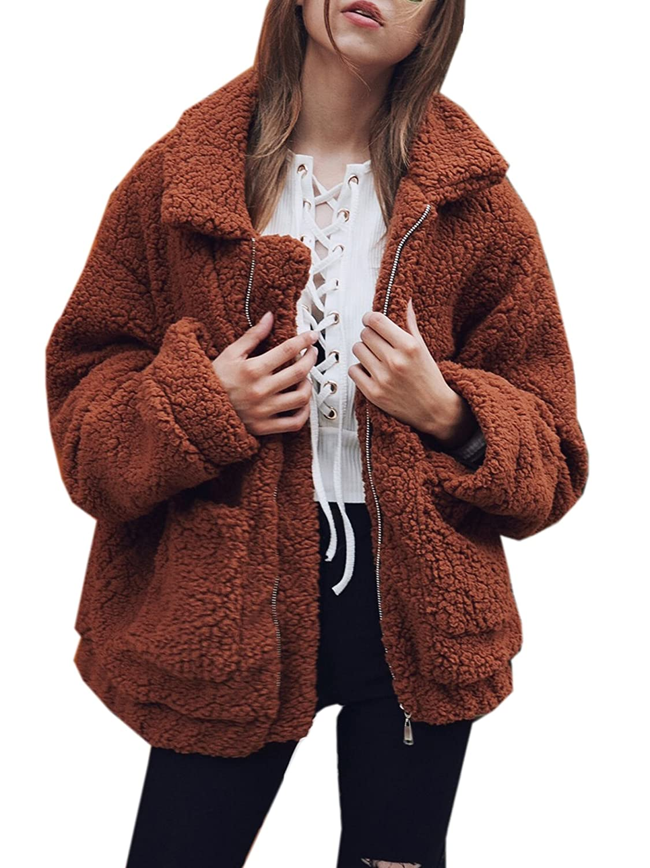 Hotmiss Women's Lapel Long Sleeve Shearling Coat Boyfriend Winter Faux Coat