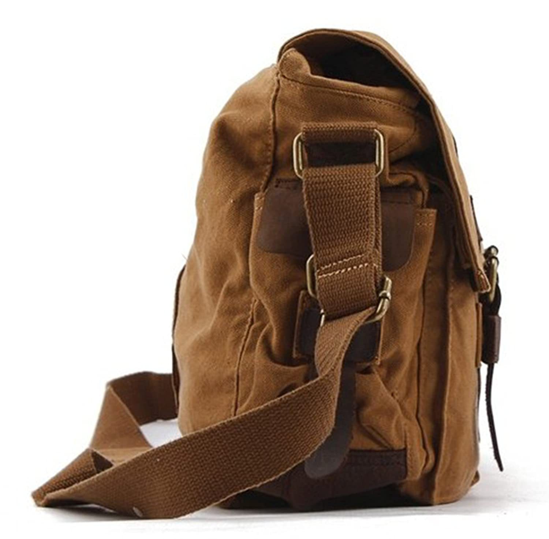 Amazon.com: Leather & Canvas Mens handbag Messenger single ...