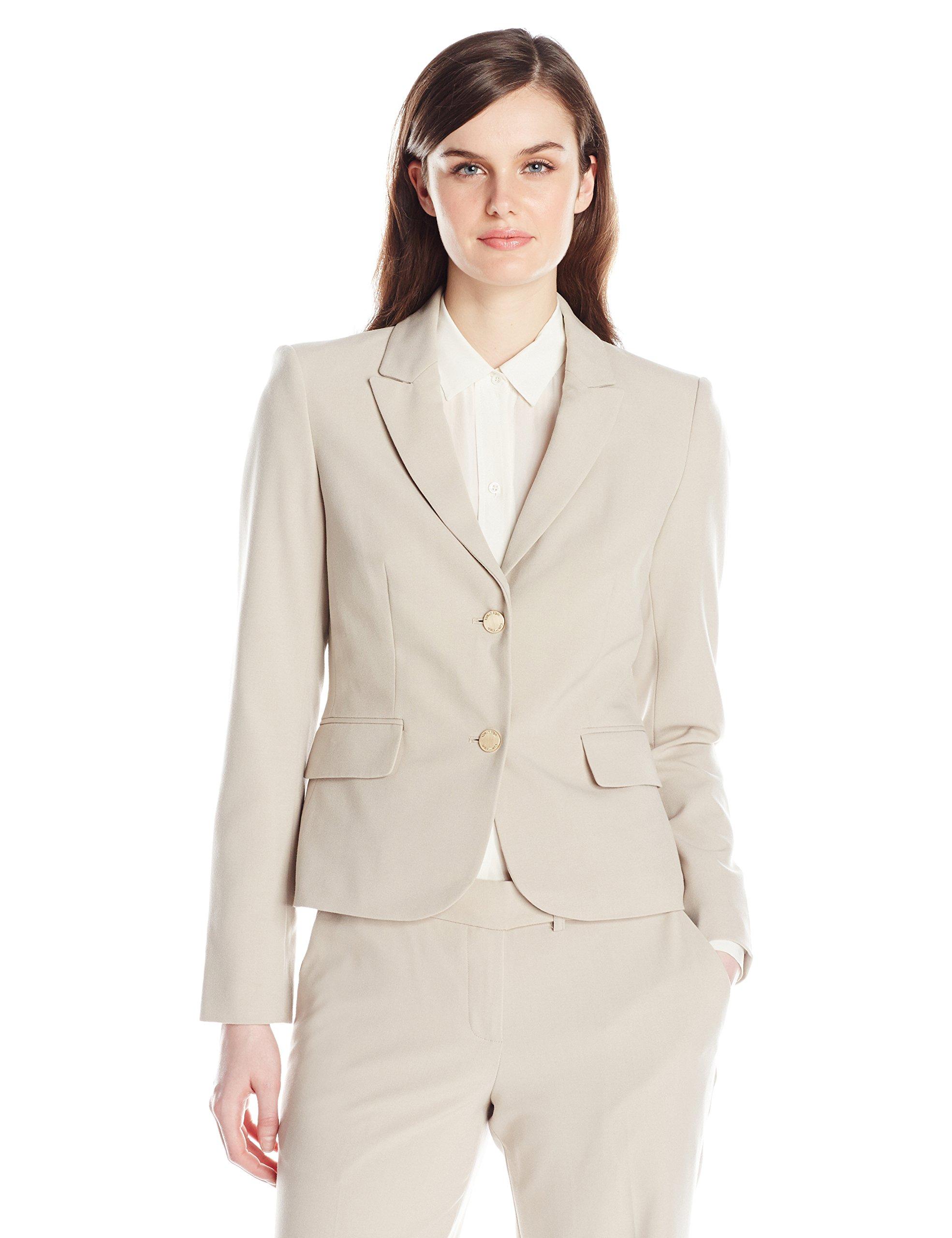 Calvin Klein Women's 2 Button Suit Jacket, Khaki, 6
