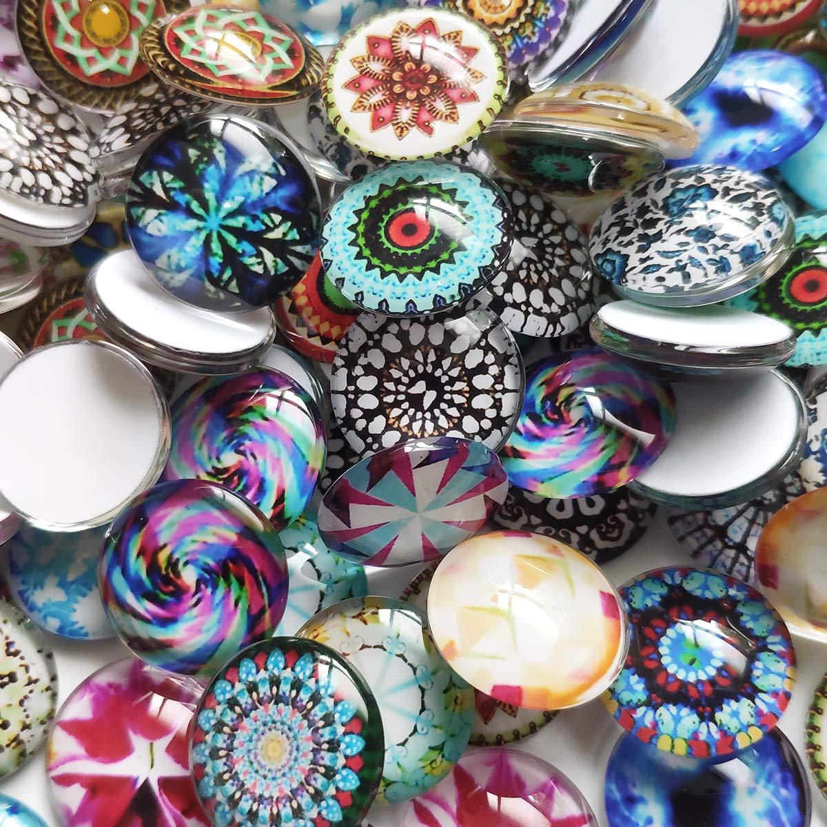 Gnognauq 100 Piezas Azulejos de Mosaico de 20mm Mixto Redondo para Manualidades Suministros Mosaico de Vidrio para Joyer/ía Pulseras