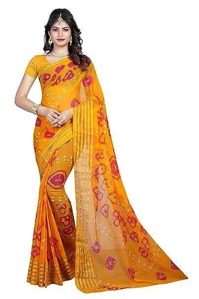 e1e7722234 Villa Women's tushar Silk Bandhani Saree With Blouse Piece (6 Line_7 Yellow  Colour): Amazon.in: Clothing & Accessories