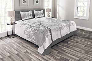 Lunarable Nature Bedspread, Silhouette of Trees Forest Freshness Themed Woodland Branches Image, Decorative Quilted 3 Piece Coverlet Set with 2 Pillow Shams, King Size, Grey White