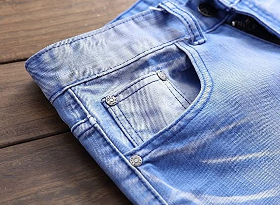 180c476b00f6 CHFYI Männer Mittlere Taille Gerade Multicolor Motorrad Zerrissene Jeans  Ohne Gürtel  Amazon.de  Bekleidung