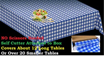 Beau Clearly Elegant 100u0027 X 52u0026quot; Blue Gingham Tablecloth Roll   Self Cutter   Checkerboard