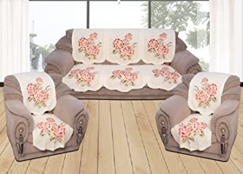 Yellow Weavestm 6 Piece Off-White Sofa & Chair Cover Set