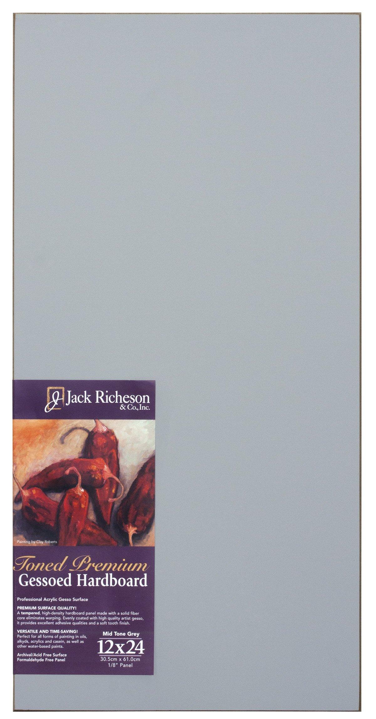 Jack Richeson Richeson Mid Grey Toned Gessoed 1/8'' Hardboard 12''x24'' by Jack Richeson