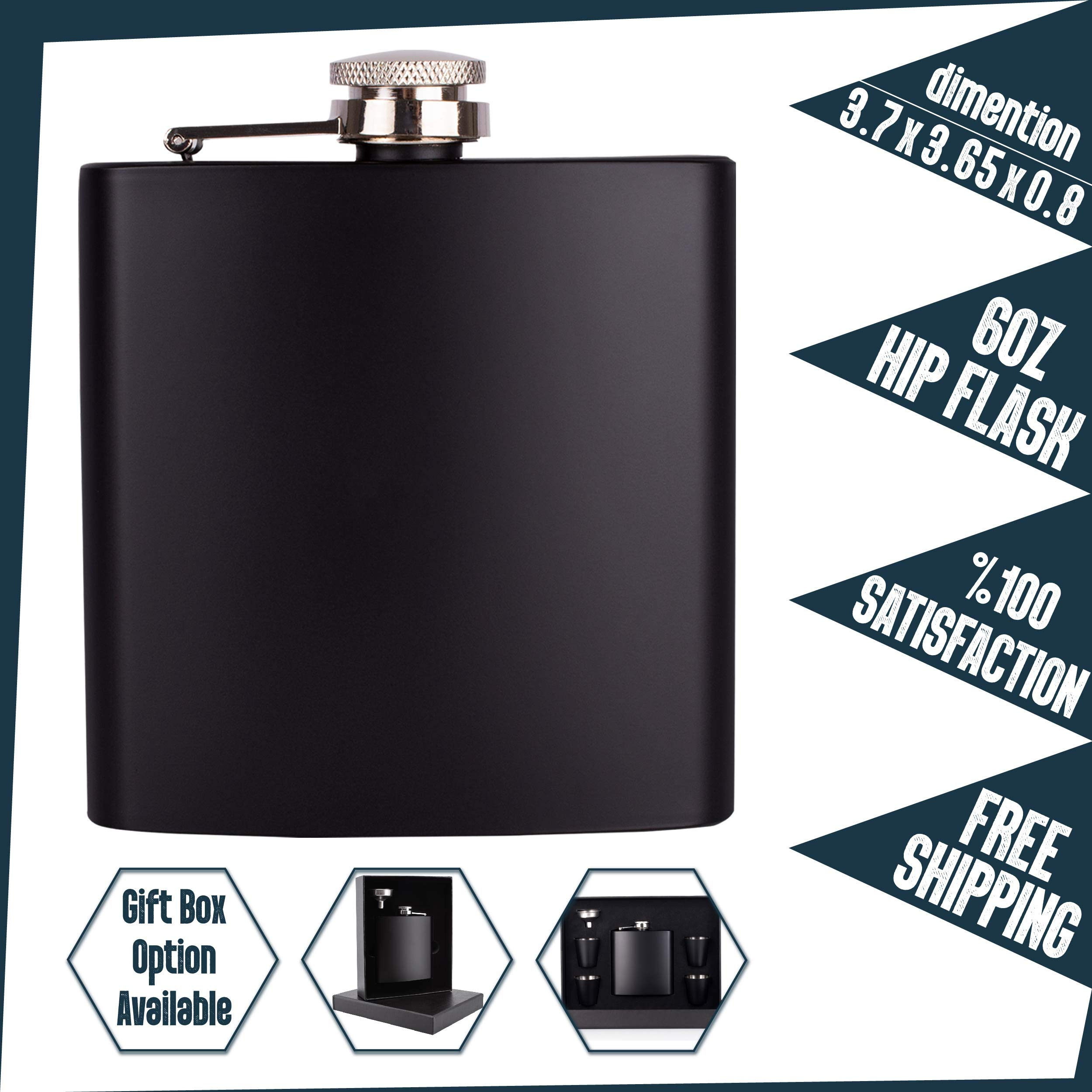 PersonalizedGiftLand Personalized Flask, Set Of 10 - Customized Flask Groomsmen Gifts For Wedding Favors, Personalized Groomsman gift - Stainless Steel Engraves Flasks w Gift Box Options - 6oz, Black by PersonalizedGiftLand (Image #5)