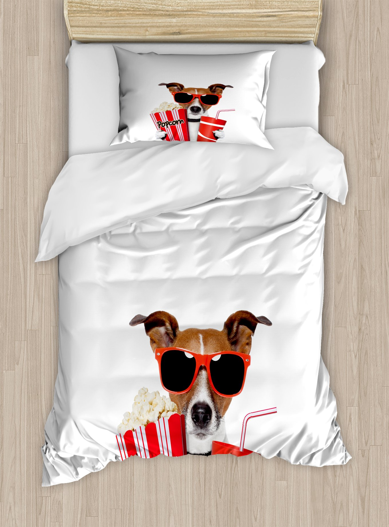 Ambesonne Movie Theater Twin Size Duvet Cover Set, Funny Dog Wearing Sunglasses Watching a Movie with Popcorn and Soda Print, Decorative 2 Piece Bedding Set with 1 Pillow Sham, Multicolor