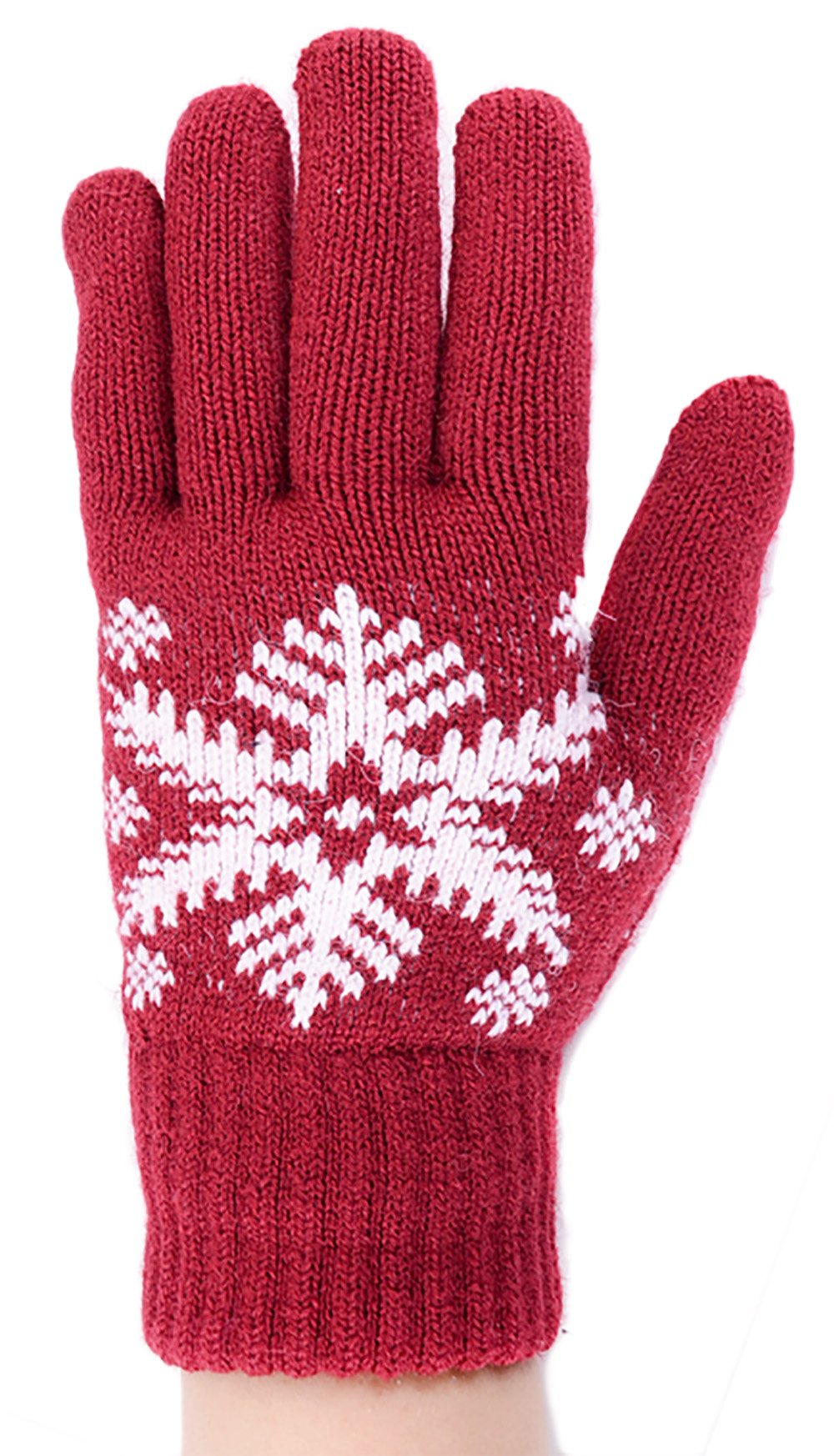 BYOS Womens Winter Ultra Warm Plush Fleece Lined Knit Gloves With Various Pattern Design (Red Snowflake)