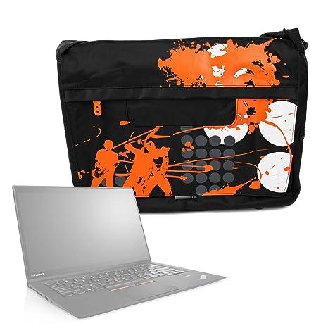 DURAGADGET Bolso Negro con Print En Color Naranja para Portátil Lenovo ThinkPad X1 Carbon/LG