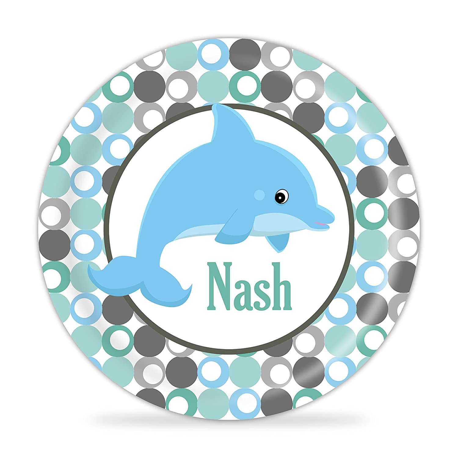 Ocean Plate Blue Gray Dots Dolphin Melamine Personalized Name Gift