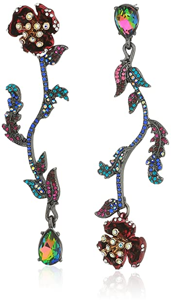 dc9a69d24 Amazon.com: Betsey Johnson Surreal Forest Mismatch Linear Flower Drop  Earrings: Jewelry