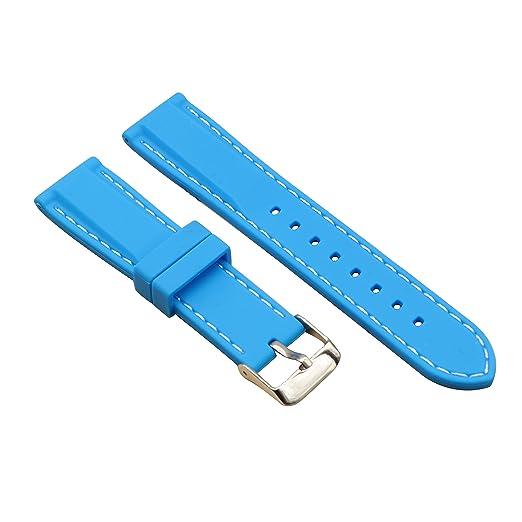 banda de reloj luz azul de larga vida de silicio con caucho de 24 mm de la línea blanca de goma blanda para los relojes diversas: Amazon.es: Relojes
