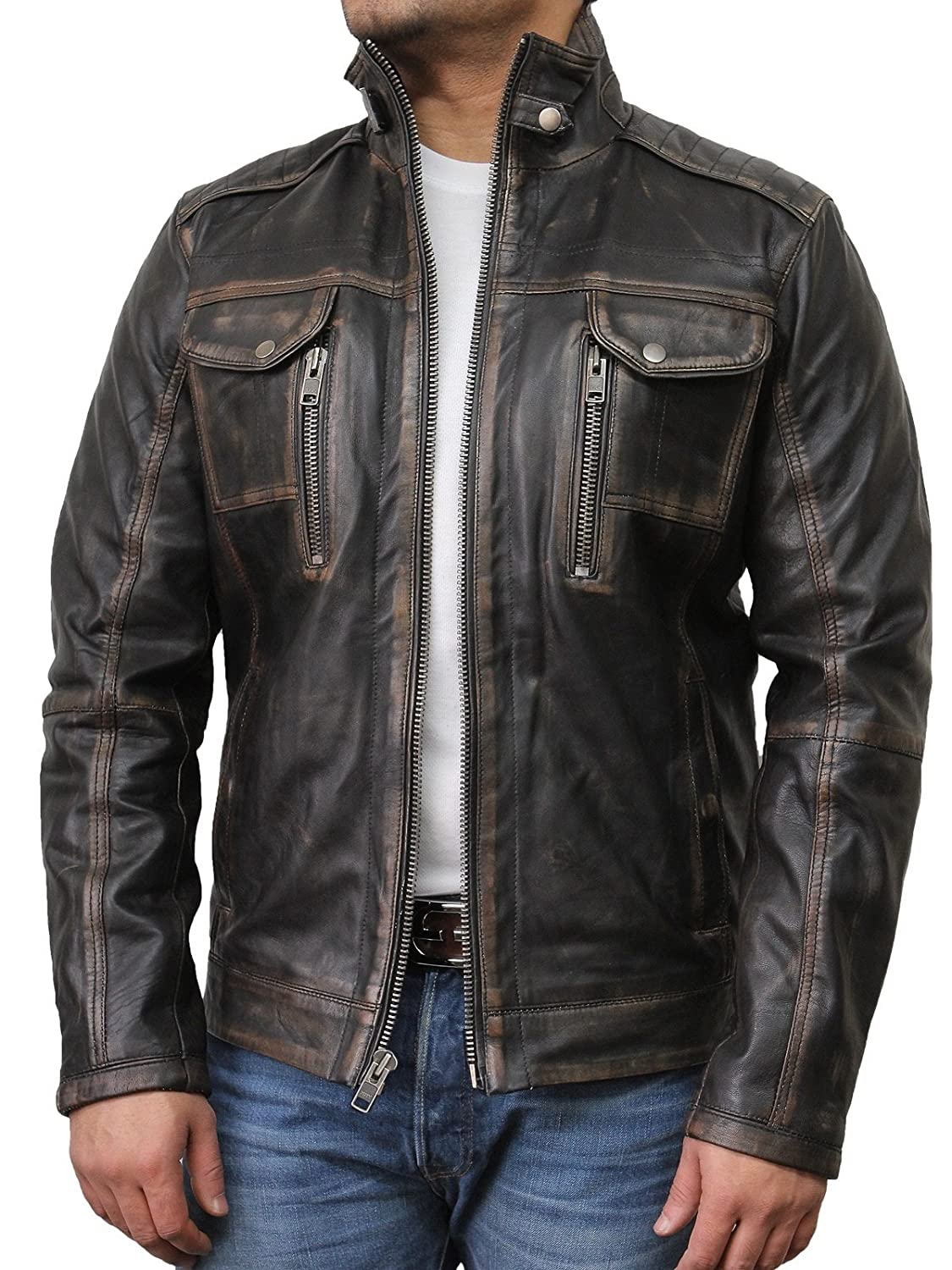 Mens Leather Biker Jacket Vintage Distressed Genuine Leather Motorcycle Jacket
