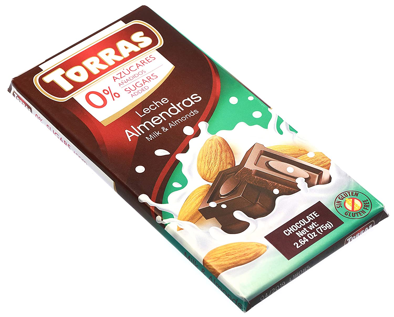 Amazon.com : Torras Sugar Free and Gluten Free Dark Chocolate Bar - Milk and Almonds (4 Pack) : Grocery & Gourmet Food