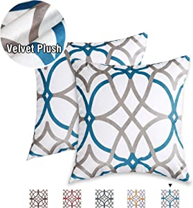 H.VERSAILTEX Original Velvet Cushion Covers 18x18 Throw Pillow Covers for Living Room (Set of 2) Luxury Solid Modern Decorative Pillows for Chair/Sofa/Couch Bed, Teal and Taupe Geo Pattern