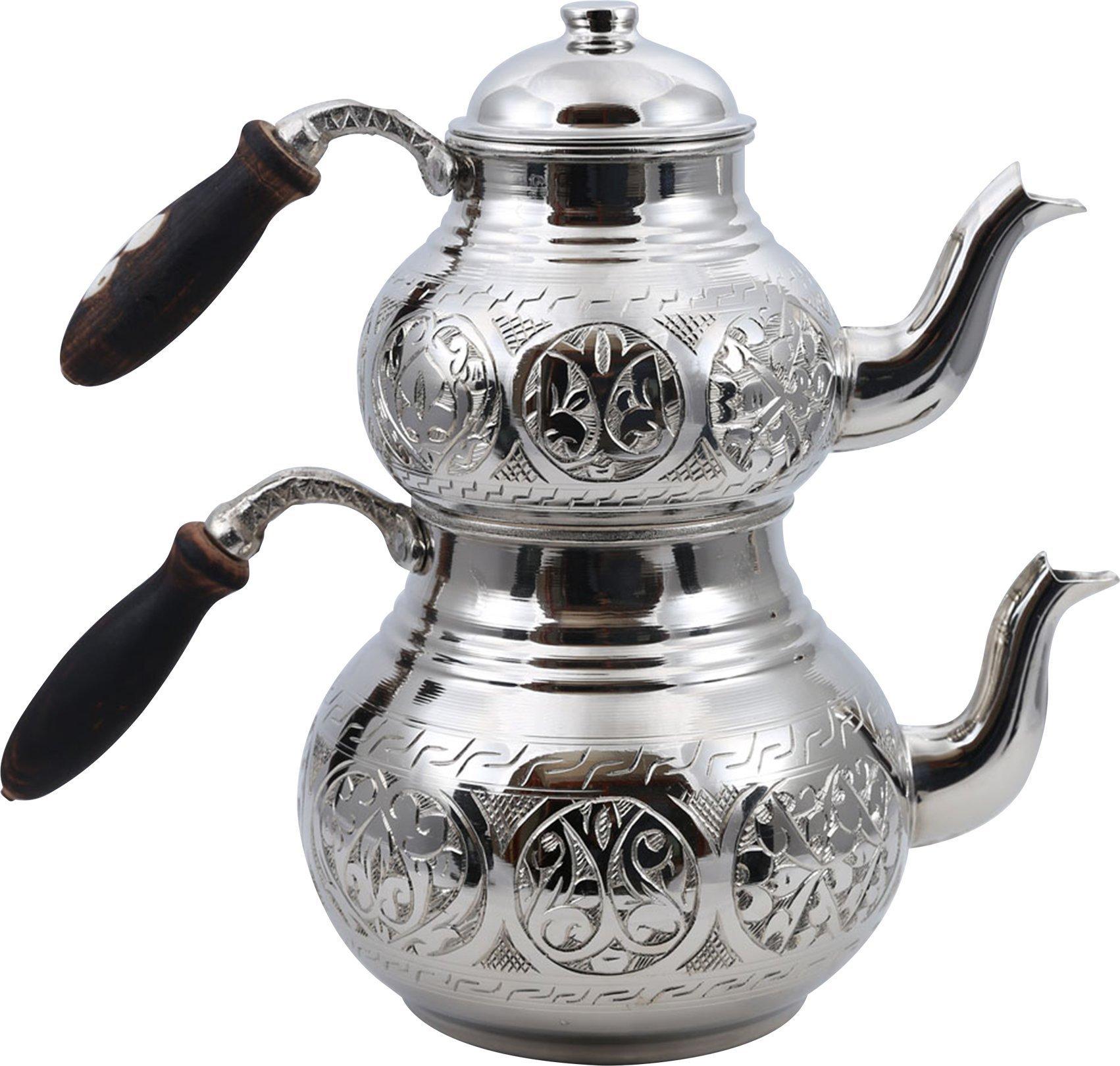 Handcrafted Copper Turkish Tea Pot Set, Tea Maker, Samovar, Ottoman Antique Handmade Tea Pot Kettle, Traditional Turkish Black Tea Maker-(TP-104)