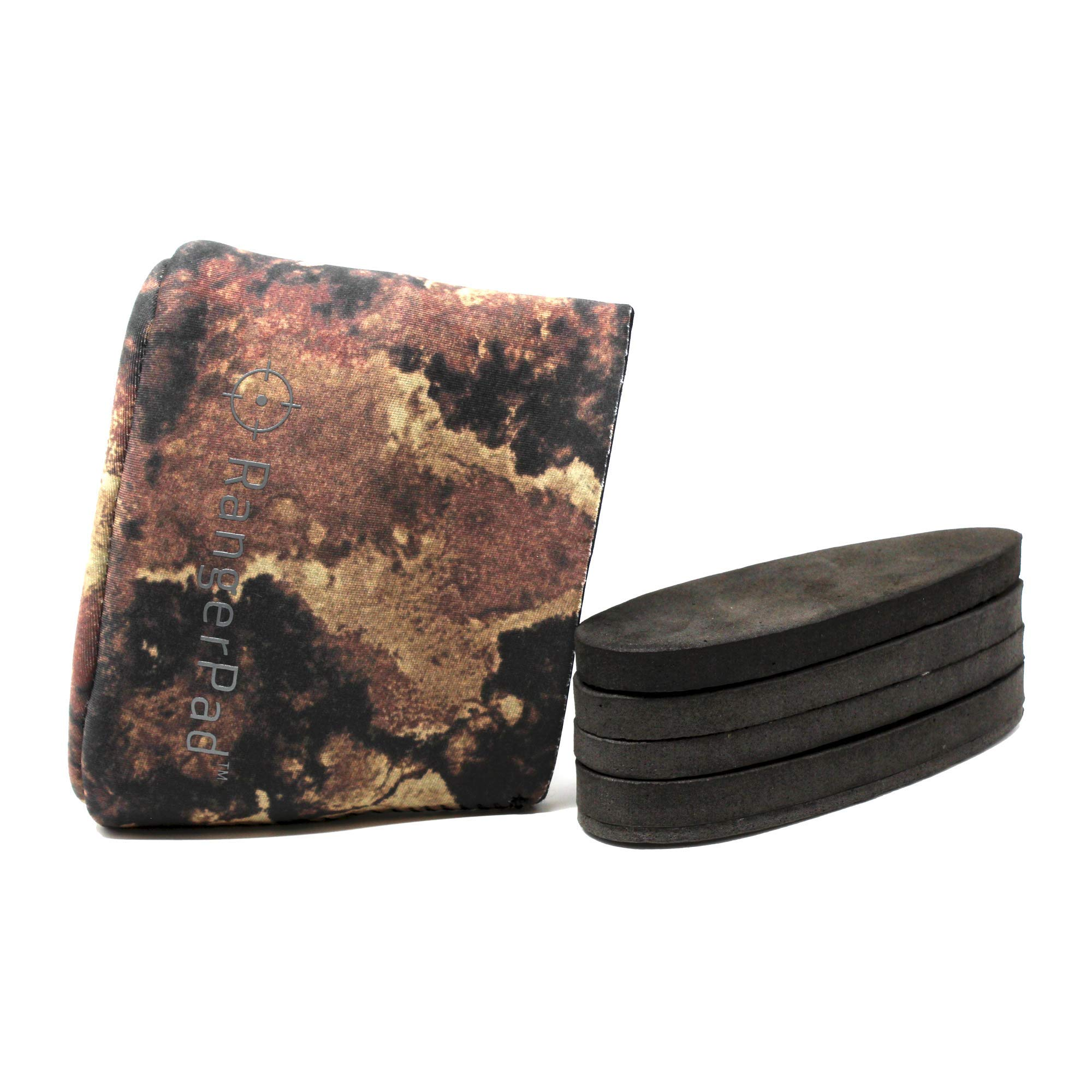 RangerPad Gel Recoil Arm Pad - Slip On Rifle Stock Cover with Adjustable Foam Padding Inserts & Gel Pad for Rifles, Shotguns & More - Relieve Shoulder & Arm Pain - Fits Most (Brown Camo) by RangerPad