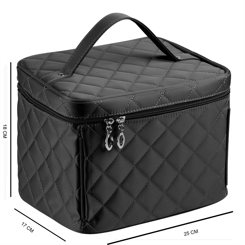 Cosmetic Bag with Zipper Big Size Nylon Makeup Bag Single Layer Travel Makeup Bags (Black)