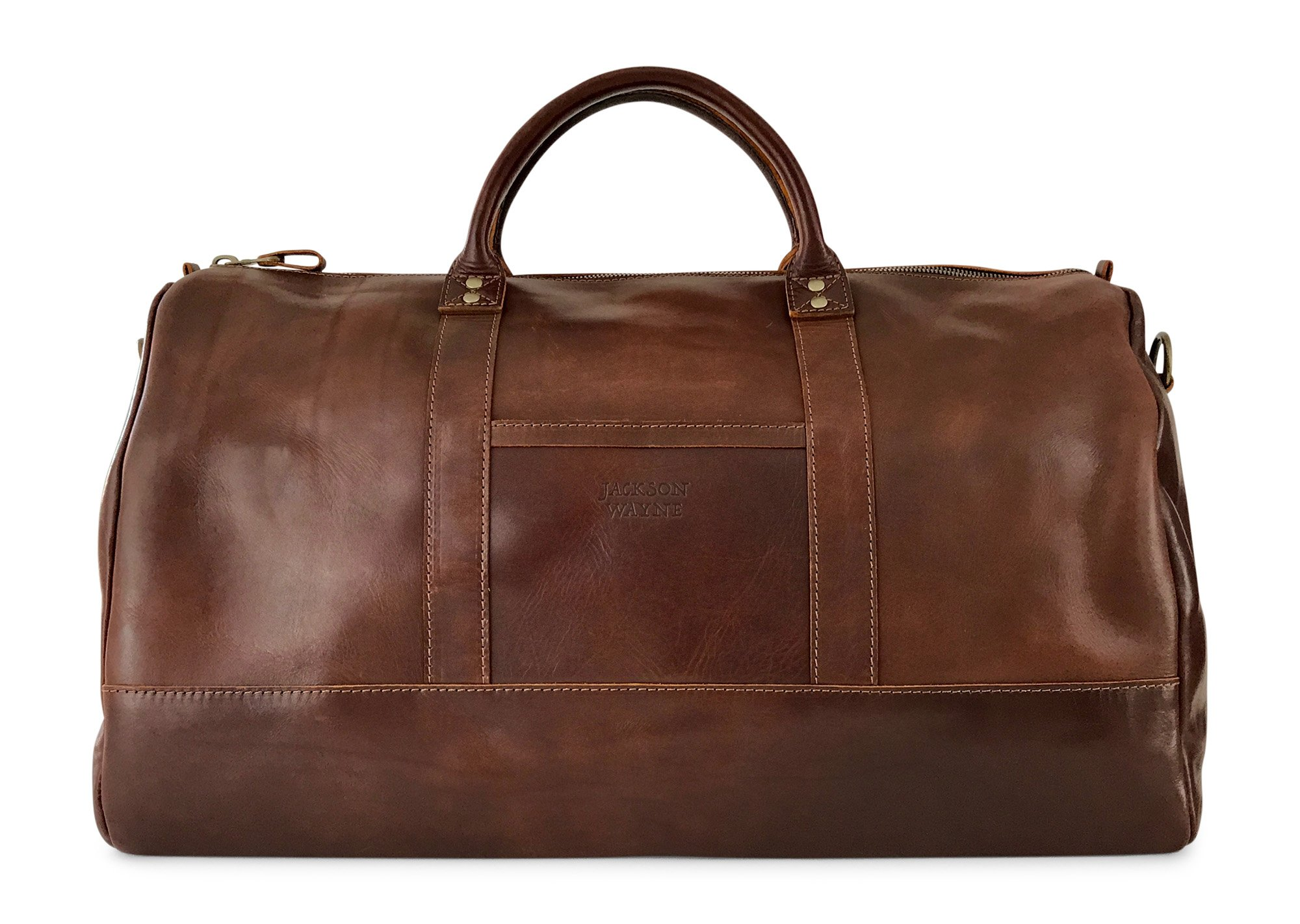 Vintage Full Grain Leather Duffle Bag & Weekend Carryall by Jackson Wayne (Vintage Brown) by Jackson Wayne (Image #3)