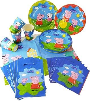 Coolmp Juego De 12 Kit De Cumpleaños De Peppa Pig 25 Piezas Talla única Decoración Para Fiestas De Animación Cumpleaños Boda Evento Juguete Globo Amazon Es Juguetes Y Juegos