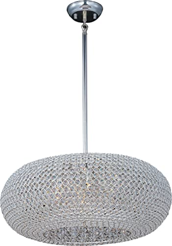Maxim 39879BCPS Glimmer Beveled Crystal Ball Pendant Ceiling Light, 9-Light Xenon 540 Watts, 12 H x 24 W, Plated Silver