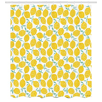 Mint And Yellow Shower CurtainSummer Fruit Pattern With Dots Stripes Doodle Lemons Leaves