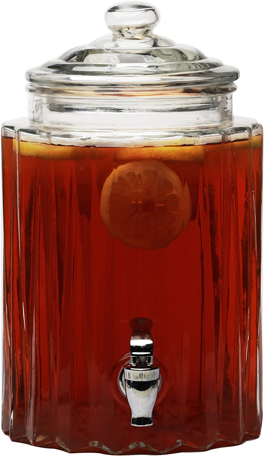 Circleware Glass Beverage Dispenser with Lid, Fun Party Entertainment Home & Kitchen Glassware Water Pitcher for Juice, Beer, Kombucha & Cold Drinks, 1.4 gal