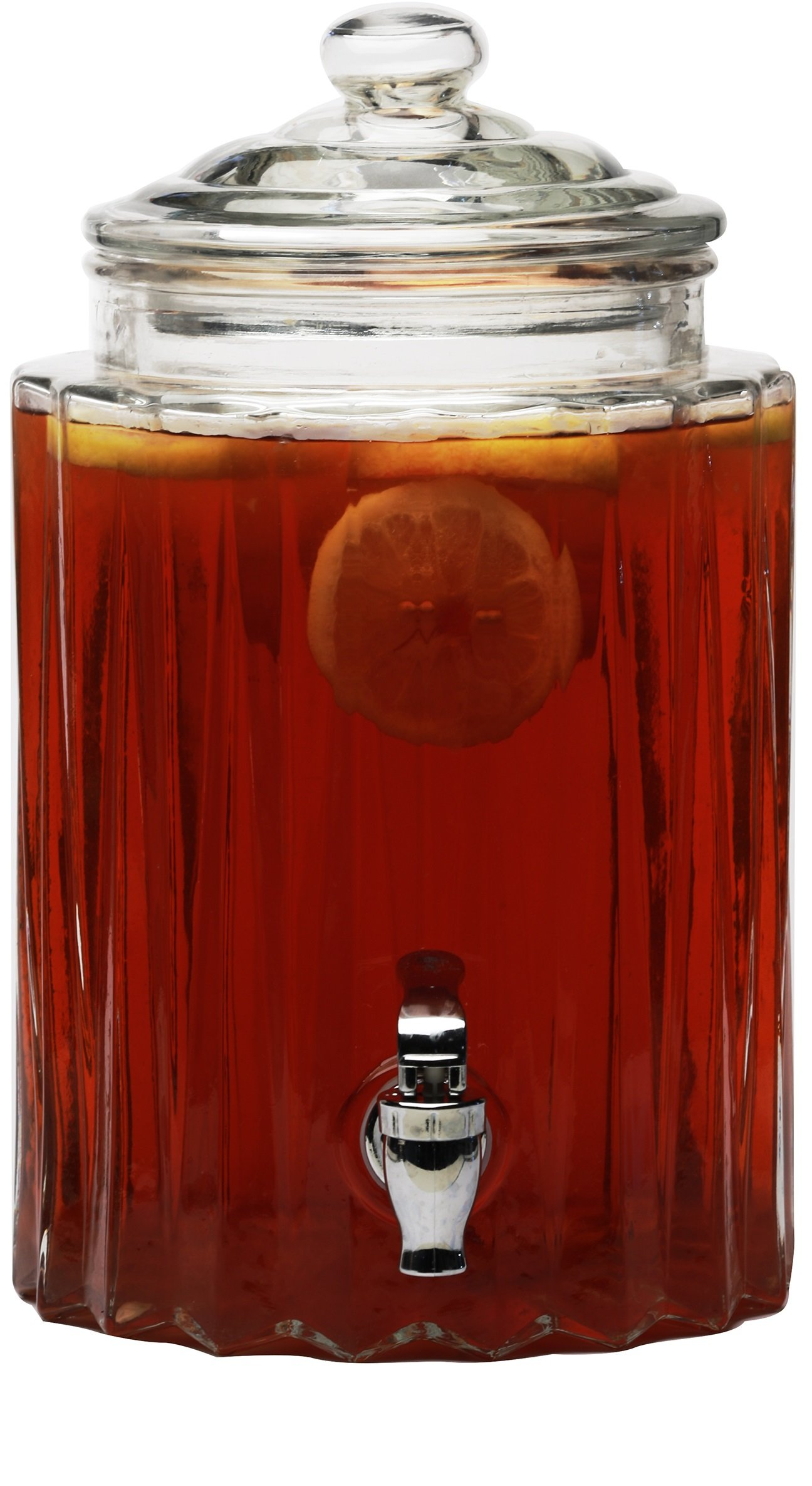 Circleware 69162 Elever Beverage Drink Dispenser with Glass Lid Glassware for Water, Iced Tea Kombucha, Punch and All Type of Cold, 1.4 Gallons