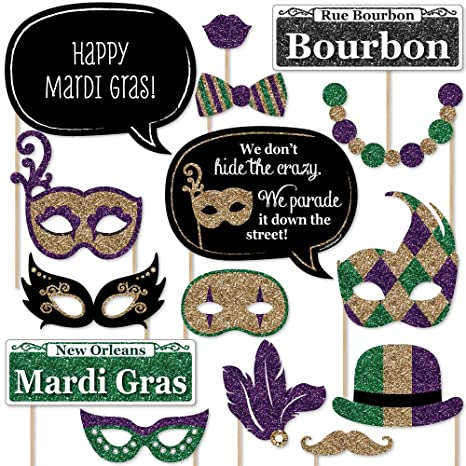 Big Dot Of Happiness Mardi Gras Masquerade Party Photo Booth Props Kit 20 Count