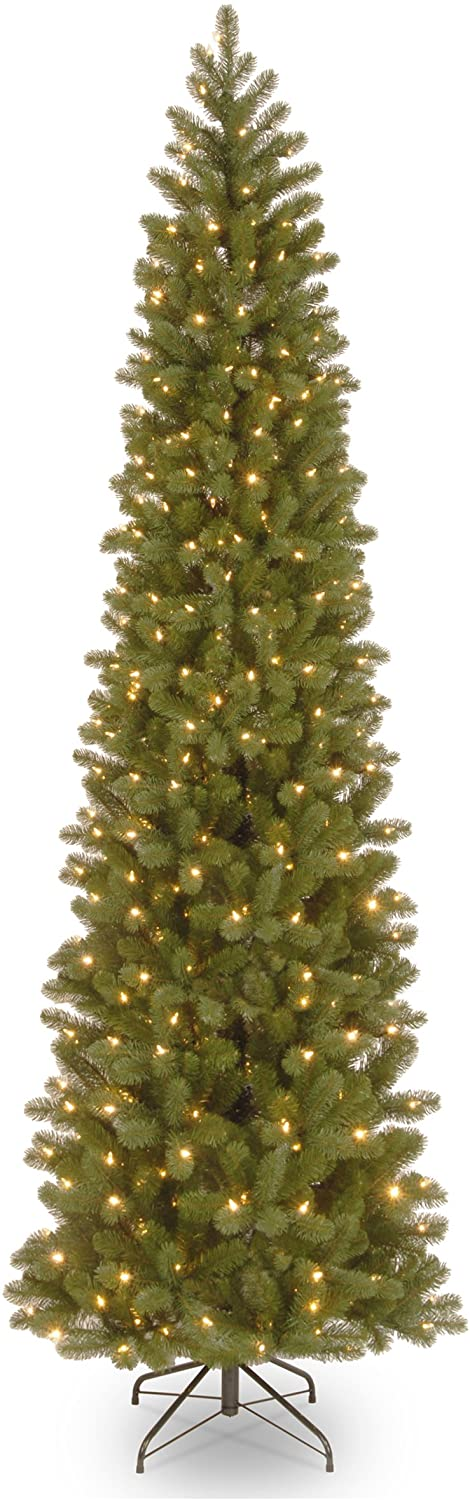 National Tree Company 'Feel Real' Pre-lit Artificial Christmas Tree   Includes Pre-strung White Lights and Stand   Downswept Douglas Fir Pencil Slim - 9 ft