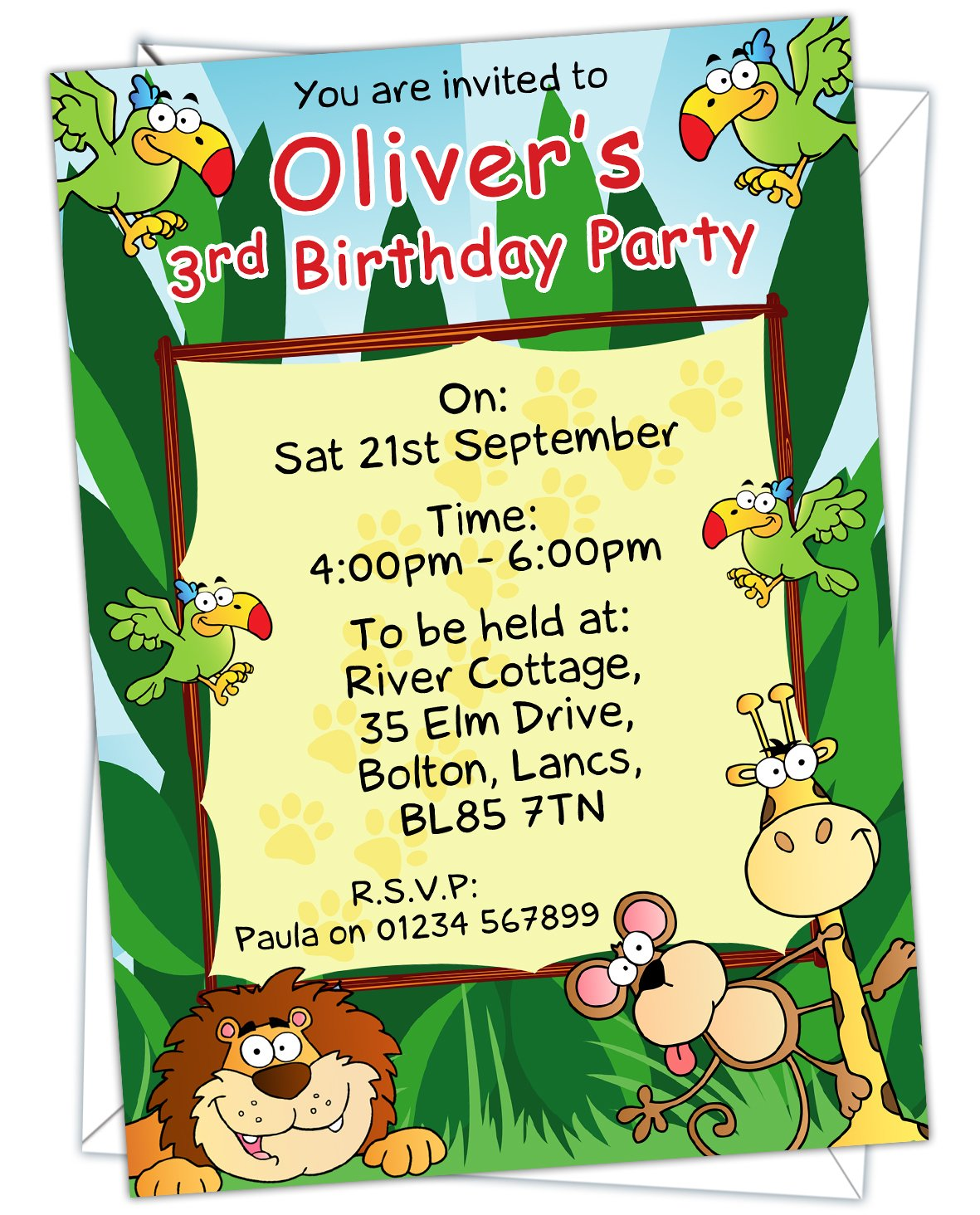 Personalised Kids Childrens Jungle Themed Birthday Party Invitations Any Age Can Be Added BK 001 Pack Of 12