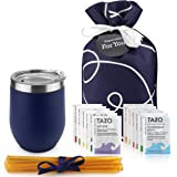 Tea Gift Set for Tea Lovers - Includes Double Insulated Tea Cup 12 Uniquely Blended Tazo Teas and All Natural Honey Straws  
