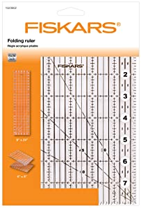 "Fiskars Acrylic Folding Ruler 6"" x 24"", Optimal for Patchwork, Various Shapes, 1023902"