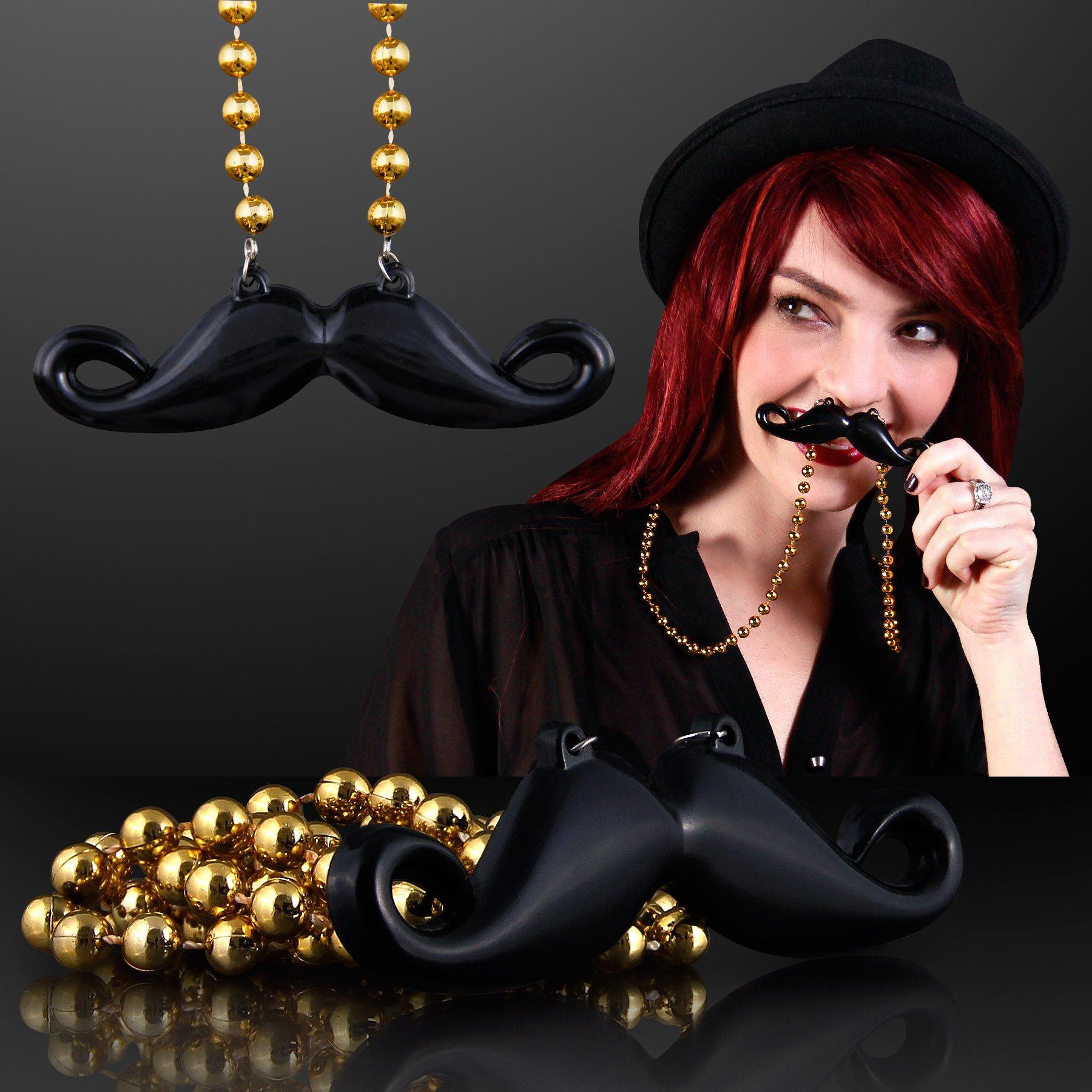 FlashingBlinkyLights Hipster Mustache on Mardi Gras Bead Necklace (Set of 48)