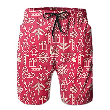 5460d3b102 ZMvise Christmas Ringbell Candy Tree Swim Trunks Quick Dry Beach Board Home  Water Sports Men's Shorts