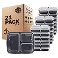 21-Pack Freshware 3-Compartment Meal Prep Containers with Lids (24 oz)
