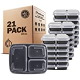 Freshware Meal Prep Containers [21 Pack] 3 Compartment with Lids, Food Storage Containers, Bento Box, BPA Free, Stackable, Mi