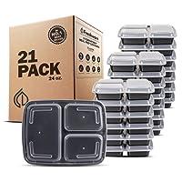 freshware comida contenedores [21Prep Pack] 3Compartimiento con tapa, almacenamiento de alimentos Bento Box | sin BPA | apilables | Cajas de almuerzo microondas/lavavajillas/congelador., control de parte, 21Días Fix (24oz)