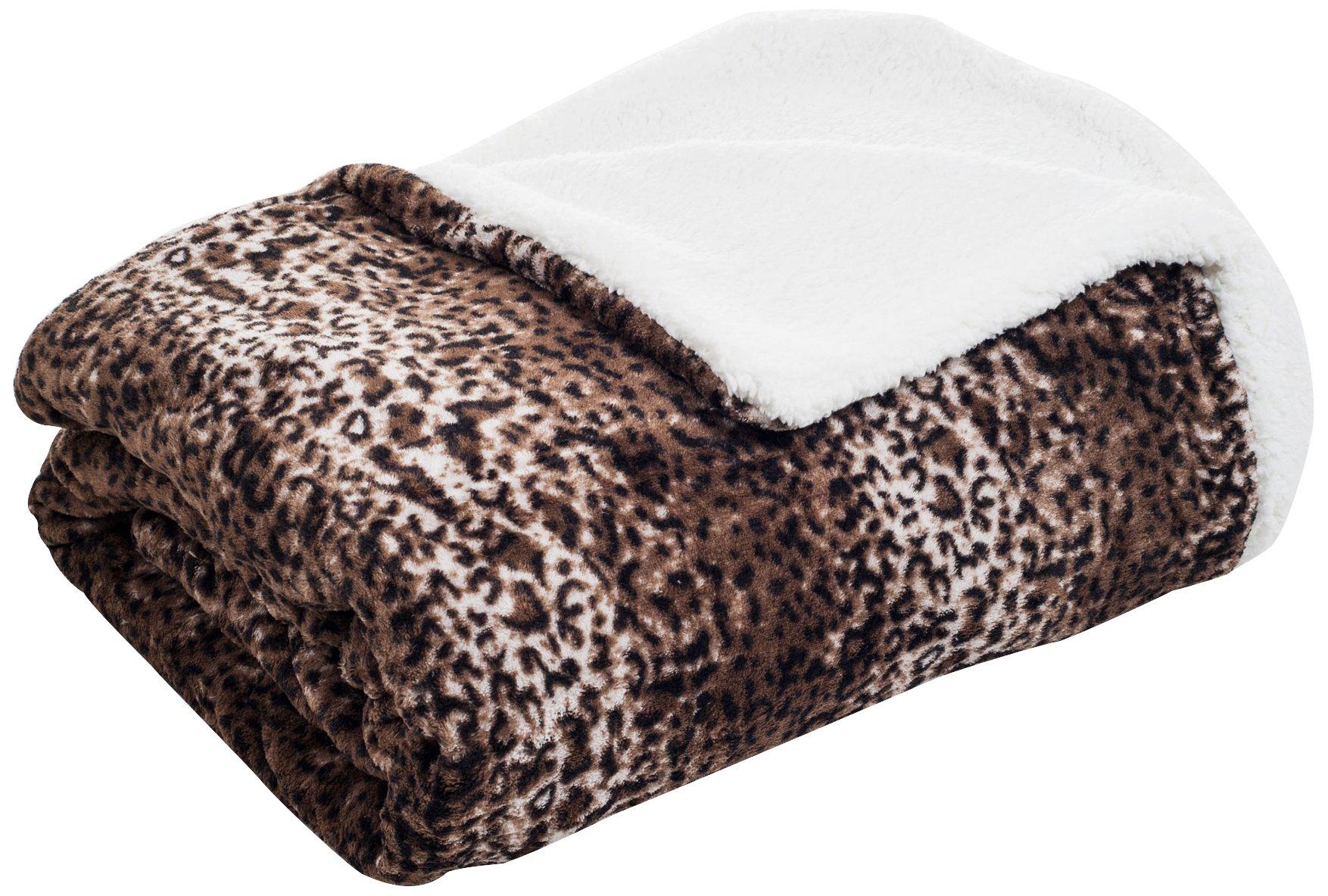 Lavish Home Fleece Blanket with Sherpa Backing, Full/Queen, Mink